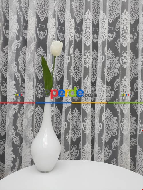 Salon Damask Desenli Örme Kdk Tül Perde %25 Ekstra İndirimli