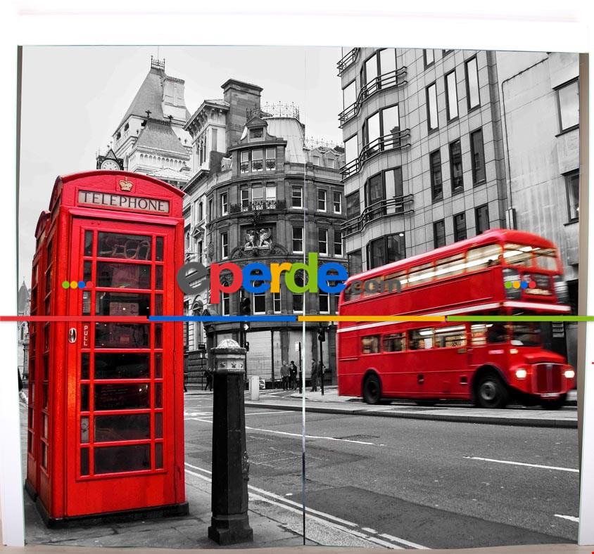 Londra Telefon Klubesi Resimli Fon Perde Takılmaya Hazır 2 Kanat - Kumaşı Kalındır- Güneş Işığını Azaltır 260cm X 260cm