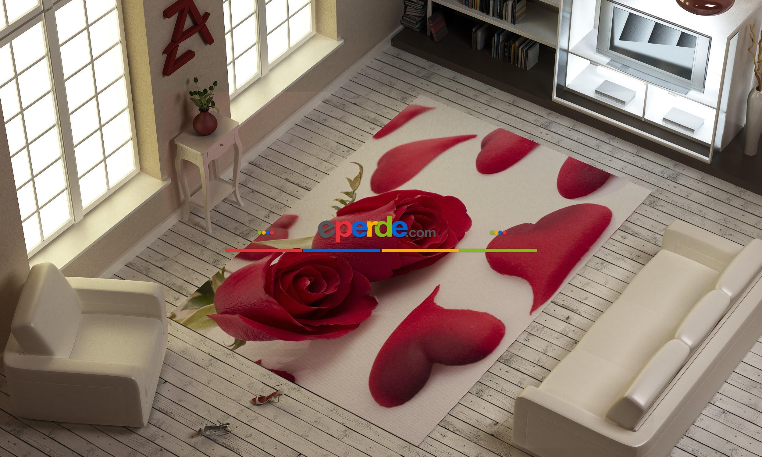 Kırmızı Güller Ve Yapraklar Baskılı Halı