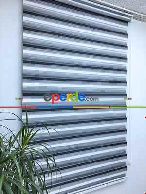 Zebra Perde -renk Geçişli Bambu Zebra Perde- Siyah-beyaz