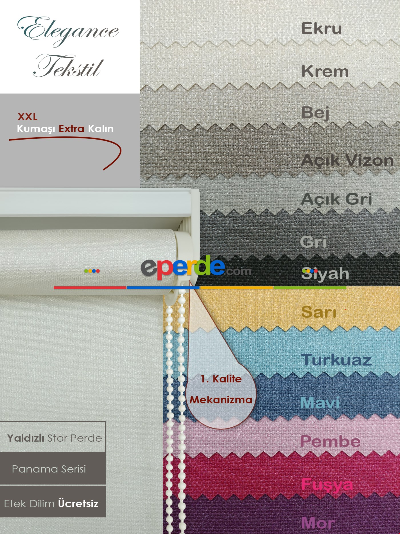 Yaldızlı Stor Perde - Panama Simli Seri - Kalın Dokulu 13 Farklı Renk