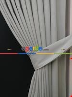 Gri Düz Renk Dökümlü Fon Perde (150)- Gri Krem