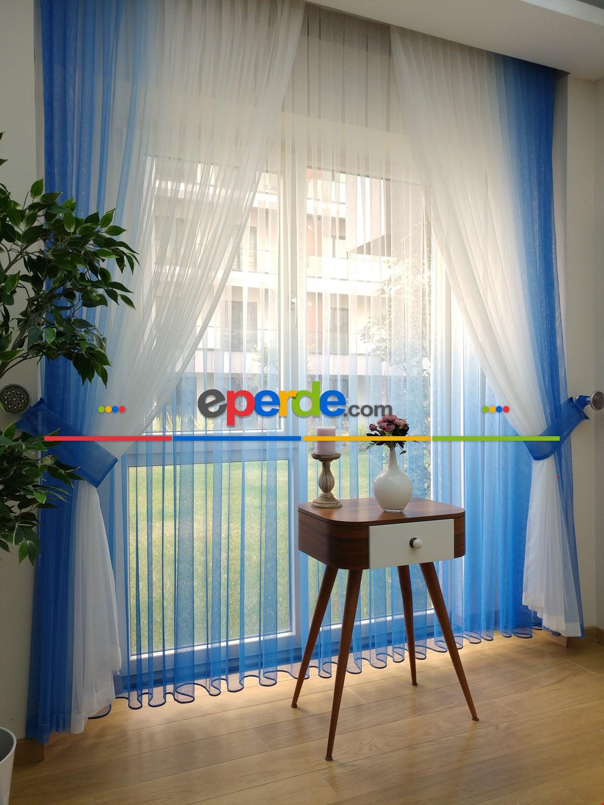 Degrade Renk Geçişli Fransız Danteli Düz Tül Perde ( Fon Satın Alarak Kombin Yapılabilir ) Mavi - Beyaz