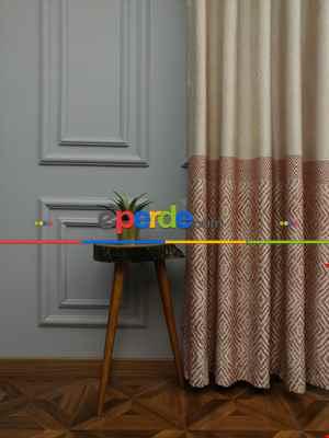 Modern Pano Fon Perde Bantlı Çift Renk - 501- Kiremit Rengi-kum Beji