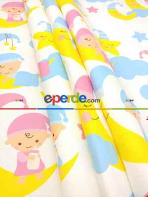Kız & Erkek Bebek Odası Ay Bulutlu Uykucular Fon Perde( Kalın Pamuklu Kumaş)- Pembe Açık-pembe Koyu