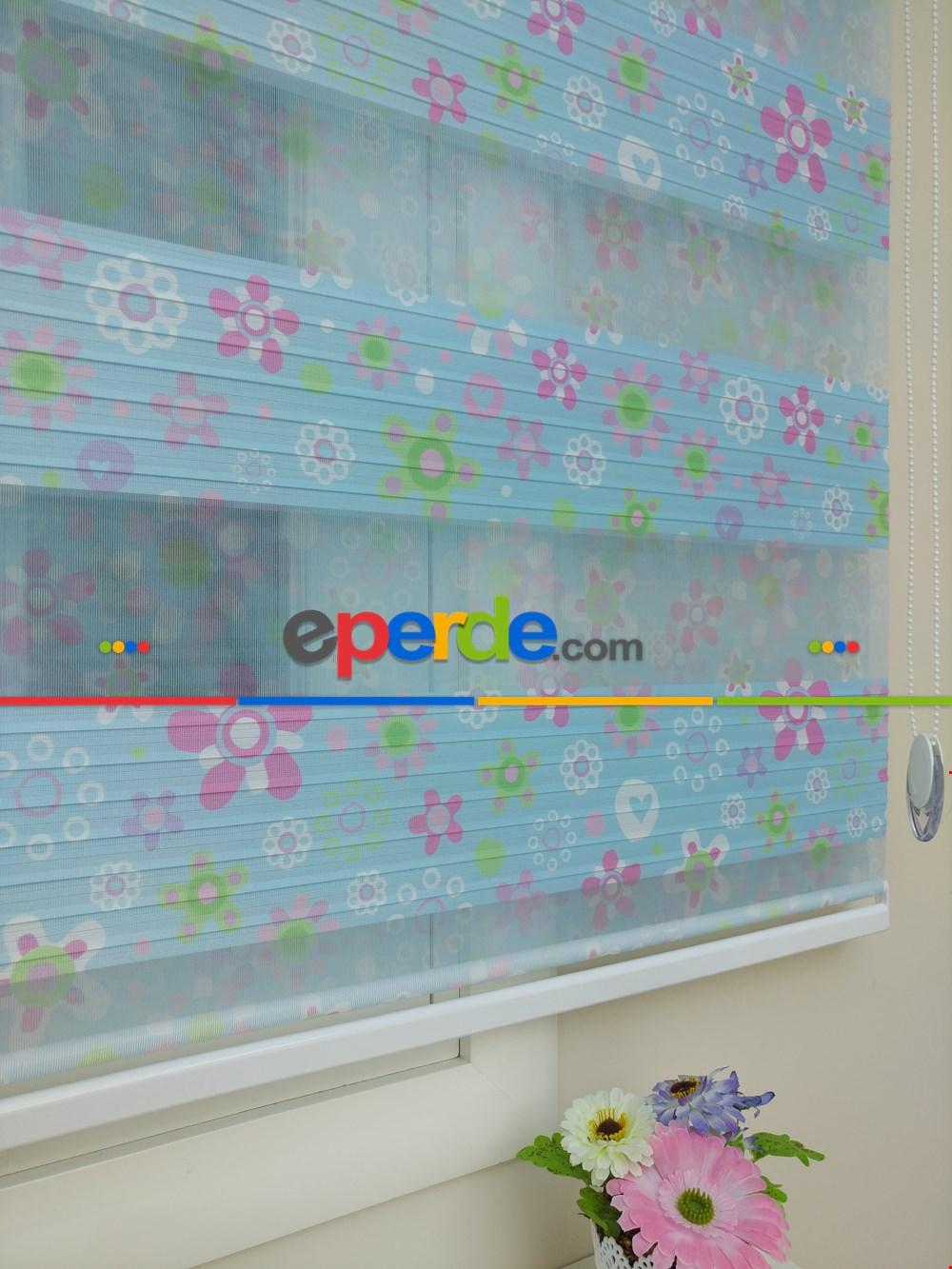 Kız Bebek Odası Zebra Perde - Çiçek Desenli