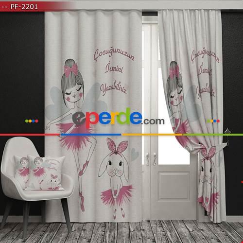 Çocuk Odası - Balerin ve Tavşan Baskılı Fon Perde - (HEDİYELİ)