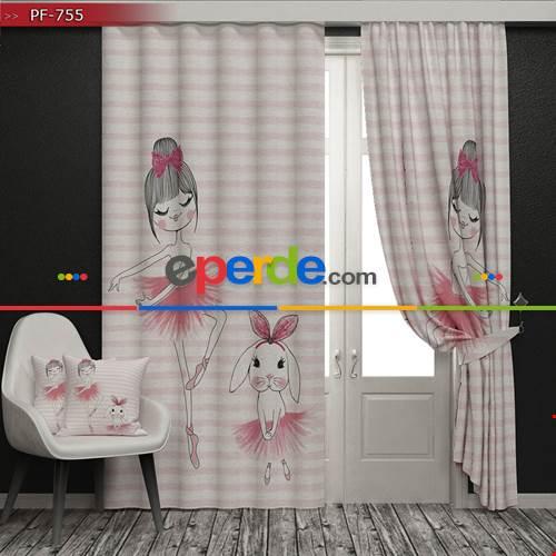 Çocuk Odası - Balerin Vektör Baskılı Fon Perde - (HEDİYELİ)