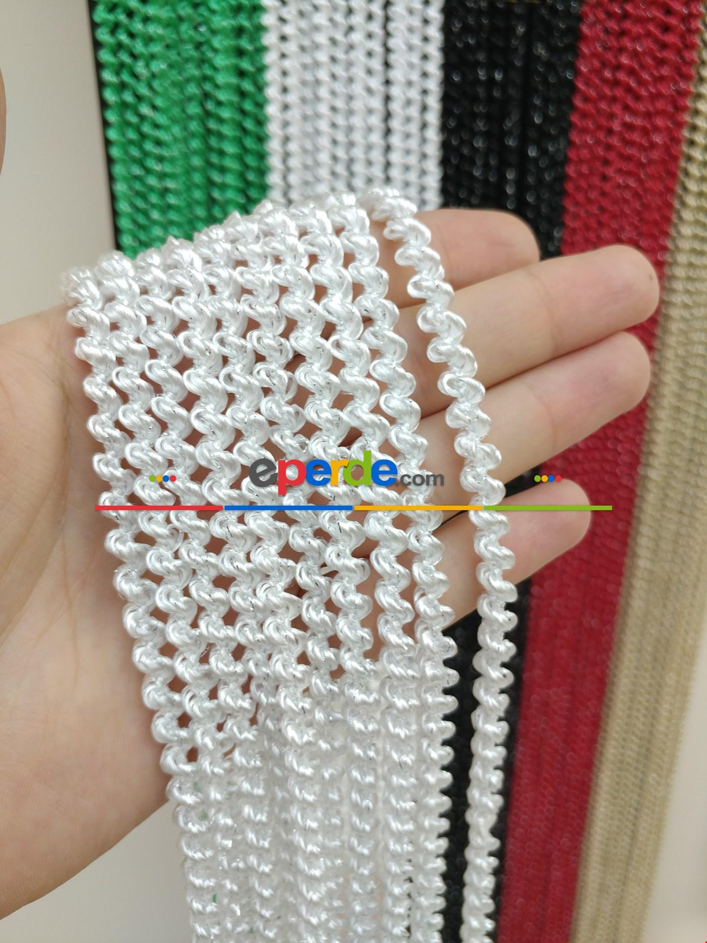 Gri Rengi İp Perde Bukle Serisi Beyaz - Gümüş