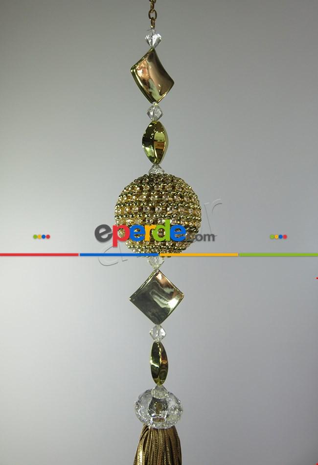 Perde Sarkıtı Zincirli Swarovskı Sarım Altın