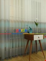 1.kalite Degrade Renk Geçişli Şantuk Keten Tül Perde Salon Perdesi 2021- Kahve Açık-gri Açık Gri Füme Antrasit - Kahverengi - Turkuaz