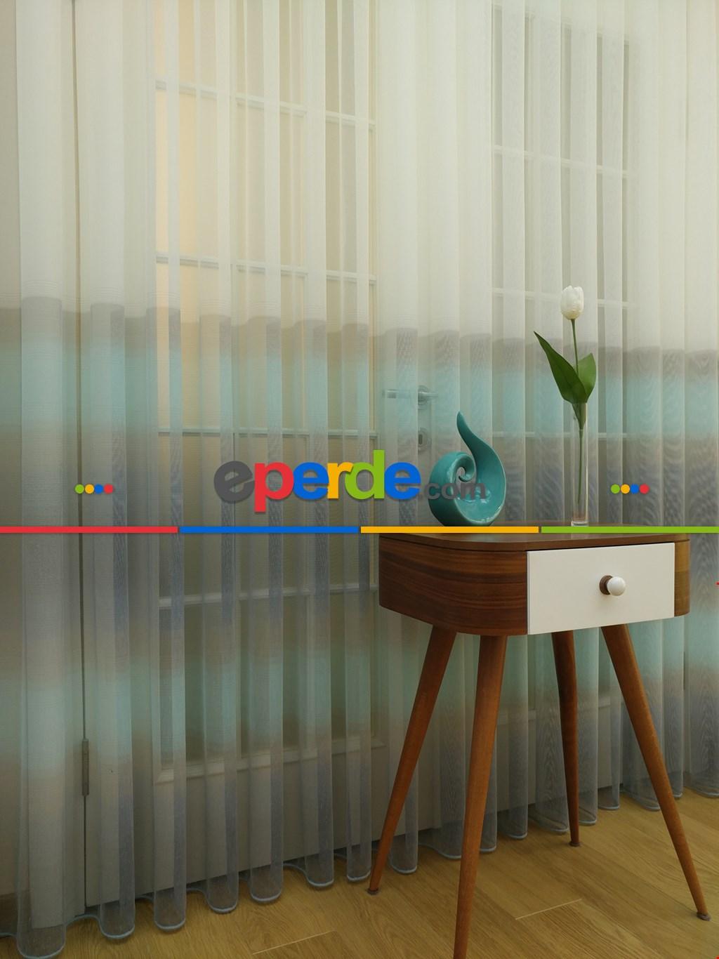 Salon Tül Perde - 1.kalite Degrade Renk Geçişli Şantuk Keten Tül Perde Perdesi 2021- Gri-Füme-Antrasit