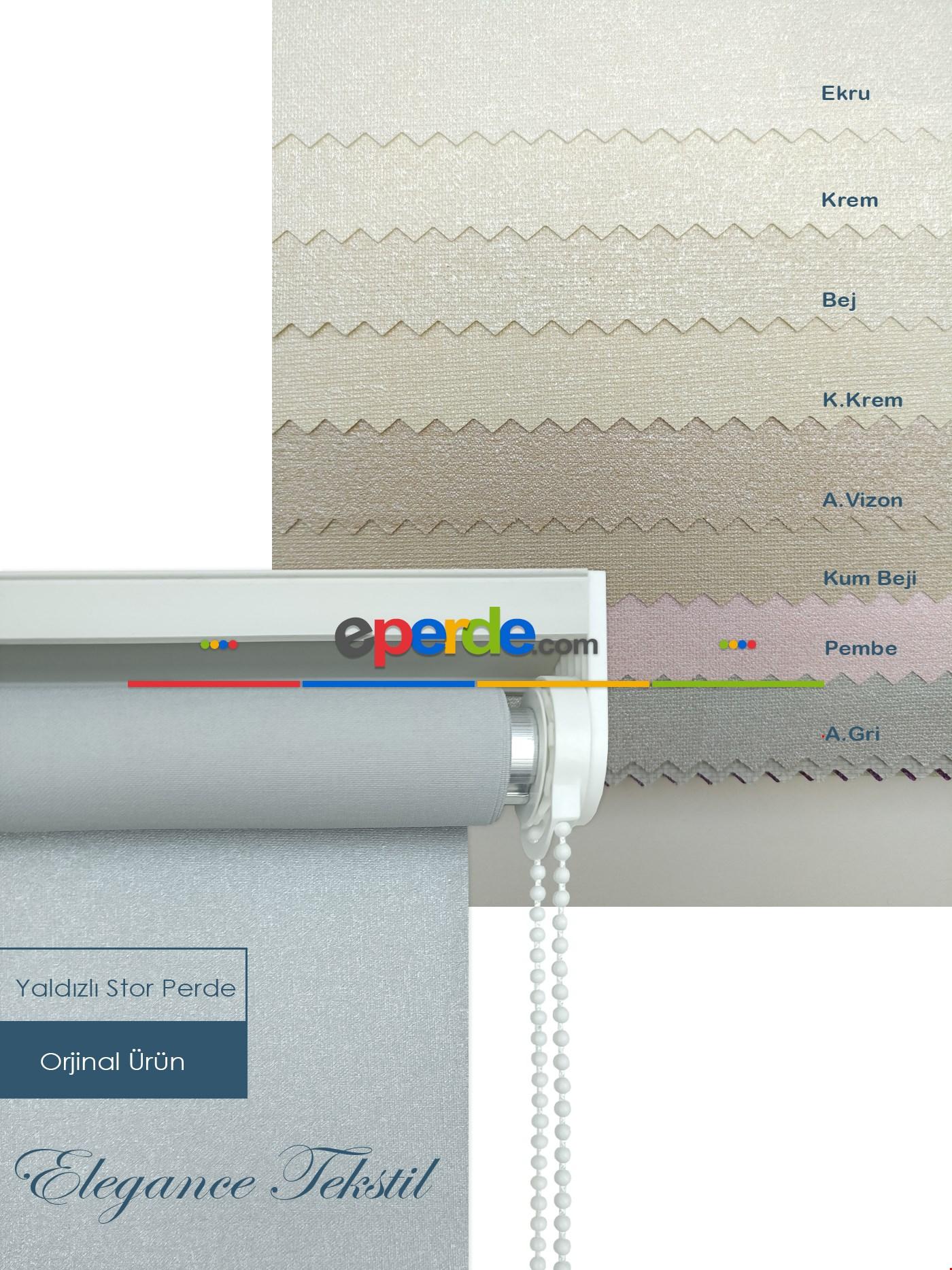 Yaldızlı Stor Perde Pastel Simli Serisi (pvc Kaplama) Kalın Dokulu 8 Farklı Renk