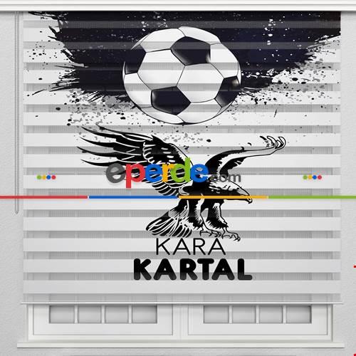 Beşiktaş Kartal Özel Poster Baskılı Zebra Perde