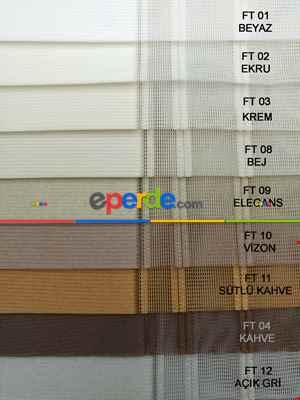 1. Kalite Çizgili Tül Dikey Zebra Perde - Ft14 Füme, Ft13 Gri, Ft16 Hardal Sarı, Ft02 Ekru- Füme-mavi Grimsi-ekru-hardal Sarısı