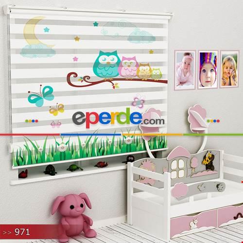 Çocuk Odası - Baykuşlar Ve Ay Vektör Özel Poster Baskılı Zebra Perde