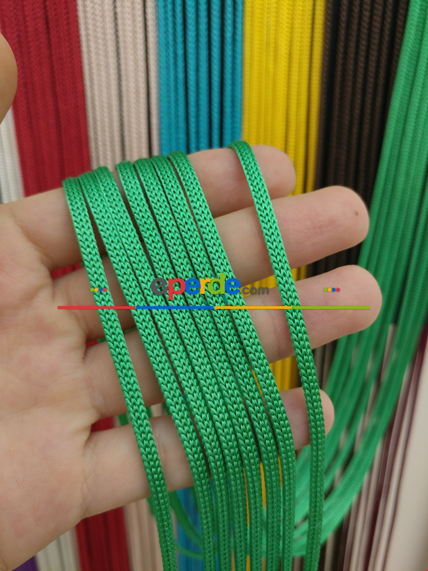 Gri Rengi İp Perde Jumbo Zincir Serisi Yeşil