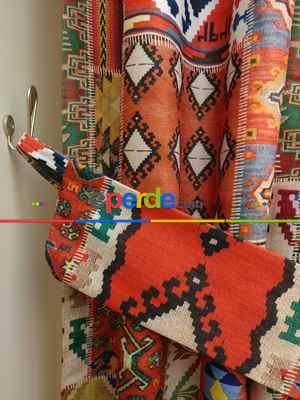 Kilim Desenli Kalın Pamuklu Kumaş Fon Perde- Lacivert-kırmızı-mavi Doymamış-yeşil Sarı Turuncu