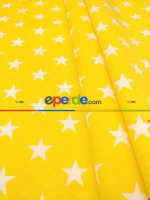 Sarı Yıldız Desenli Fon Perde ( Leke Tutmaz )- Sarı
