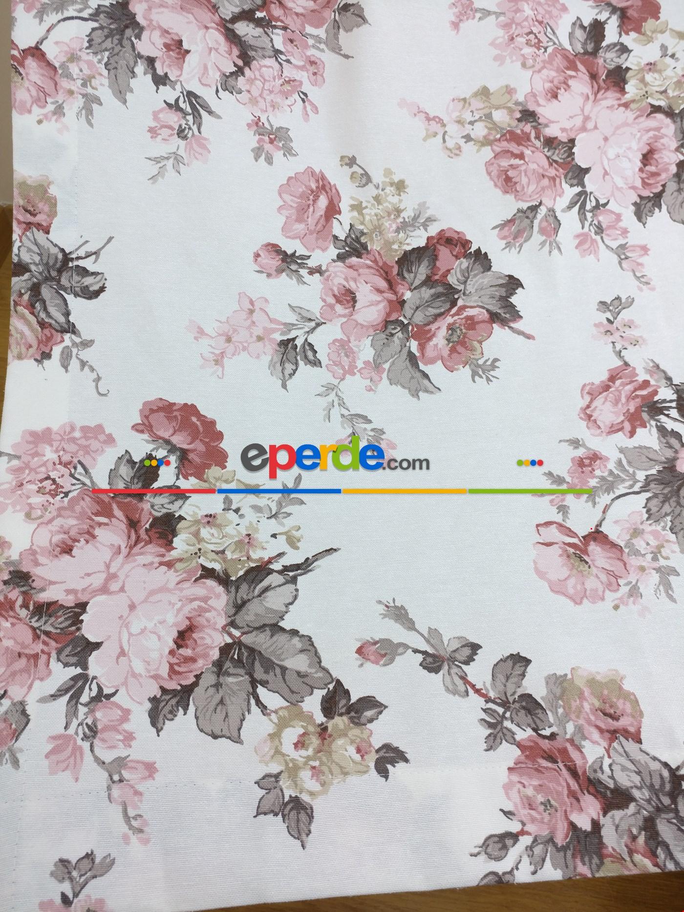 Gri - Pembe Çiçek Desenli Fon Perde ( Leke Tutmaz )