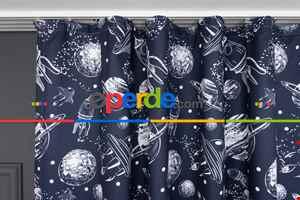 Çocuk Odası - Lacivert Uzay Temalı Desenli Fon Perde
