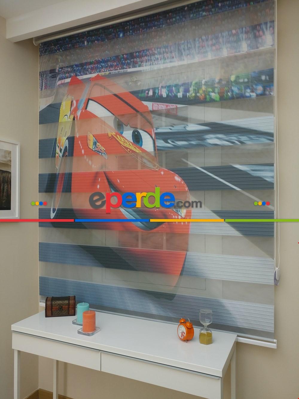 Erkek Çocuk Odası Perdesi Şimşek Mcqueen Arabalı Zebra Perde
