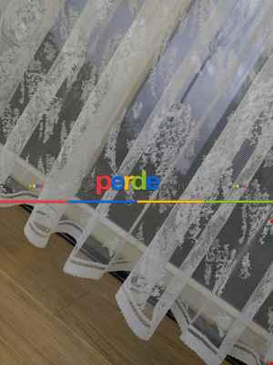 Salon Yatak Odası Spor Serpme Desenli Dantel 2021 Tül Perde- Ekru