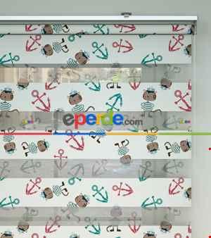 Bebek Odası Zebra -  Çapa Ve Denizci Kedi Desen Baskılı Zebra Perde- Yeşil-Kırmızı-Ekru