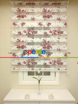 Zebra Perde- Çiçek Baskılı Zebra Perde- Siyah-kırmızı-siyah Kırmızı