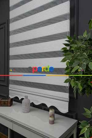 Salon - Zebra Perde - Simli Geniş Pileli Zebra Perde