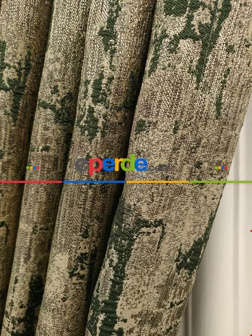 Modern Desenli Jakarlı Fon Perde- Yeşil-kum Beji