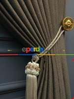 Modern Keten Görünümlü Işık Geçirmez Karatma Fon Perde 2021 Ikon- Kahve Koyu-Vizon Rengi Kahverengi