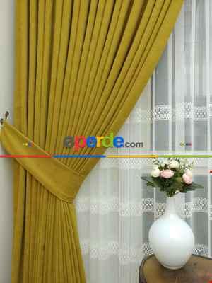 Hardal Rengi Düz Fon Perde Kumaşı Dökümlü- Hardal-hardal Sarısı