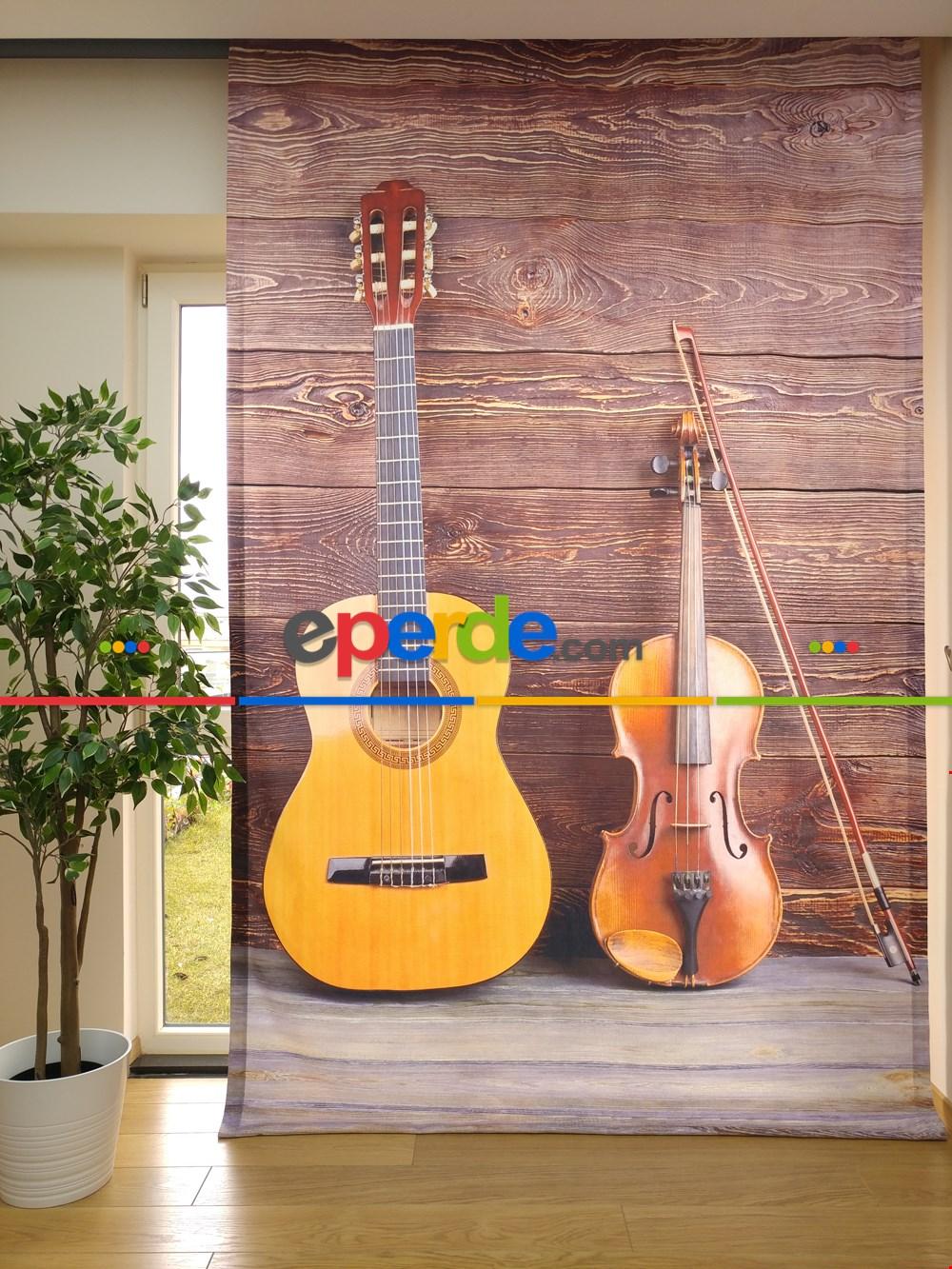 Genç Odası İçin Keman Ve Gitar Desenli 3d Fon Perde