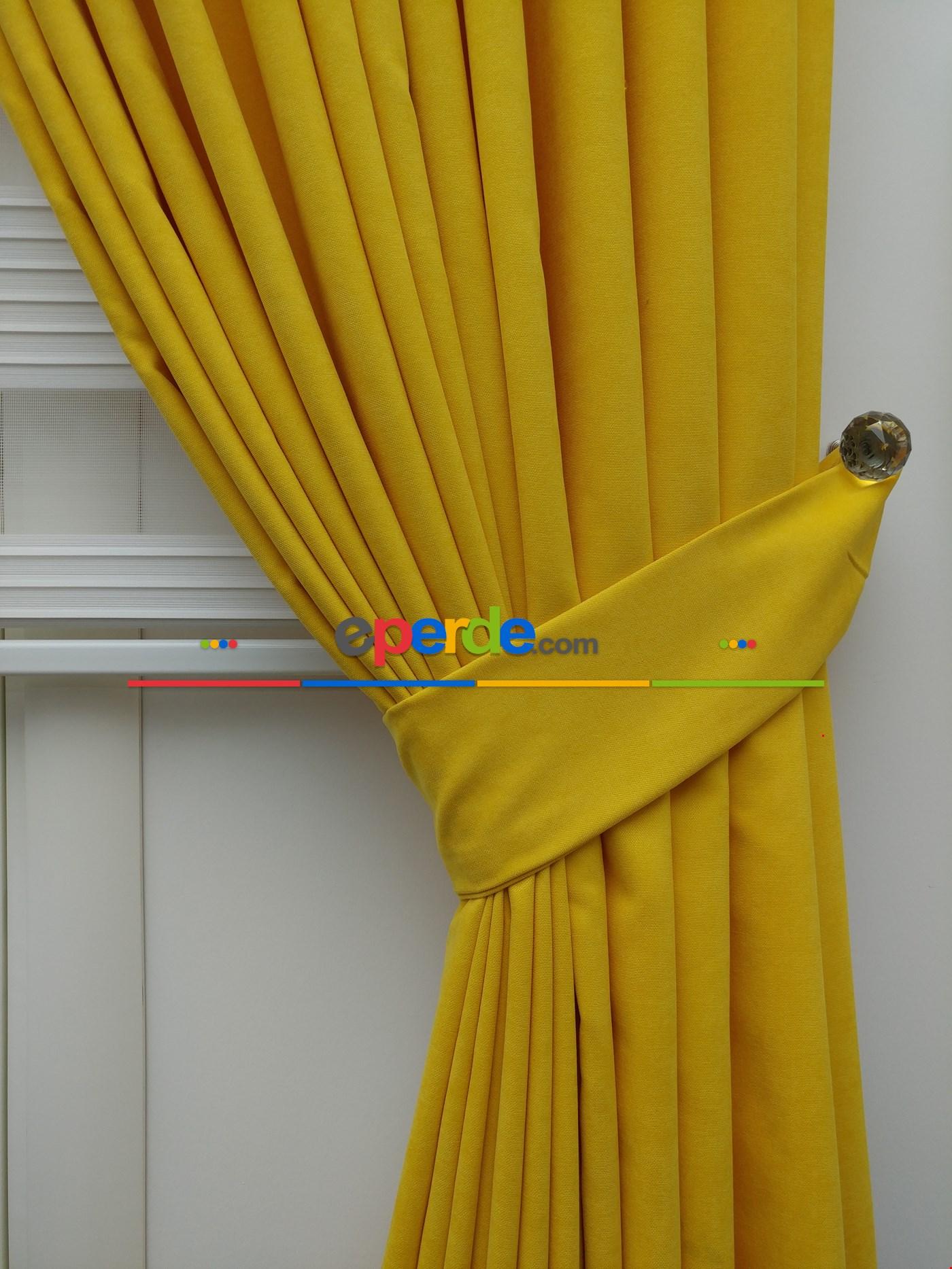 Sarı - Düz Fon Perde (150cm En Dökümlü Fon) Sarı