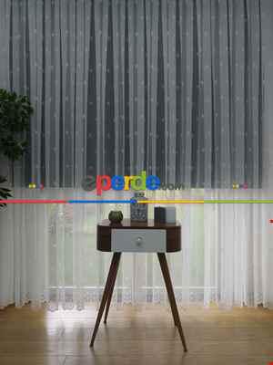 Serpme Damask Desenli ( Orjinal ) Kdk Salon Fransız Dantel Tül Perde & Kruvaze Model Dikiş Seçenekli - Ekru Renk - Ütü İstemeyen