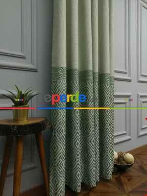 Salon Perdesi - Modern Pano Fon Perde Bantlı Çift Renk - 501- Yeşil