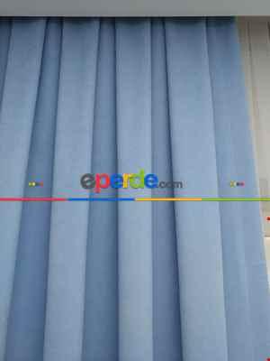 Çocuk Odası Fon - Açık Mavi Düz Fon Perde 180cm En- Mavi Açık