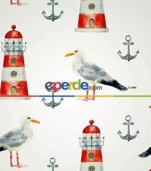 Deniz Feneri Baskılı Stor Perde- Yeşil-mavi-beyaz
