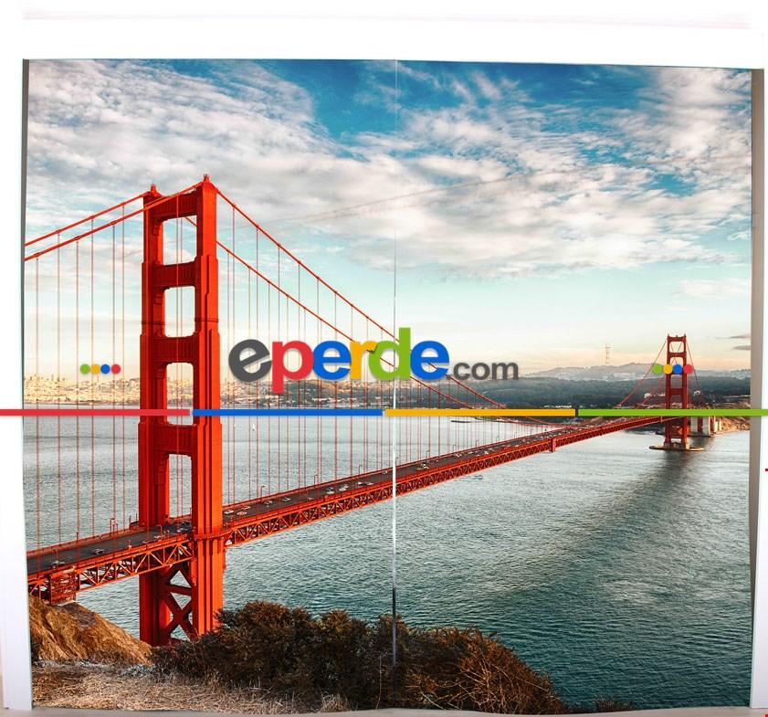 Köprü Resimli Fon Perde Takılmaya Hazır 2 Kanat - Kumaşı Kalındır- Güneş Işığını Azaltır 270cm X 260cm