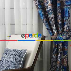 Mavi Etnik Fon Perde-  Çok Renkli 3