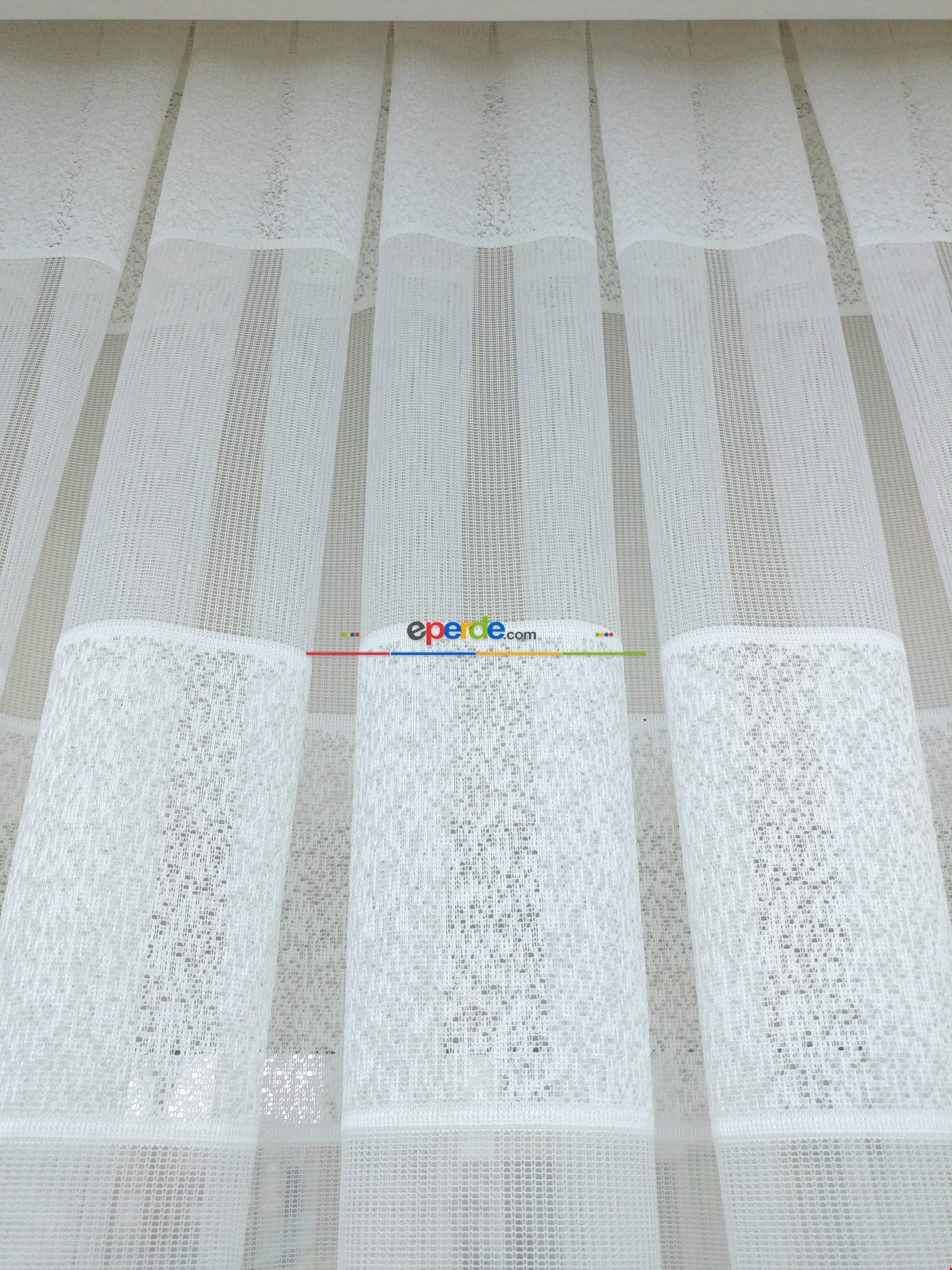 Beyaz Dantel Örme Düz Model Bantlı Tül Perde