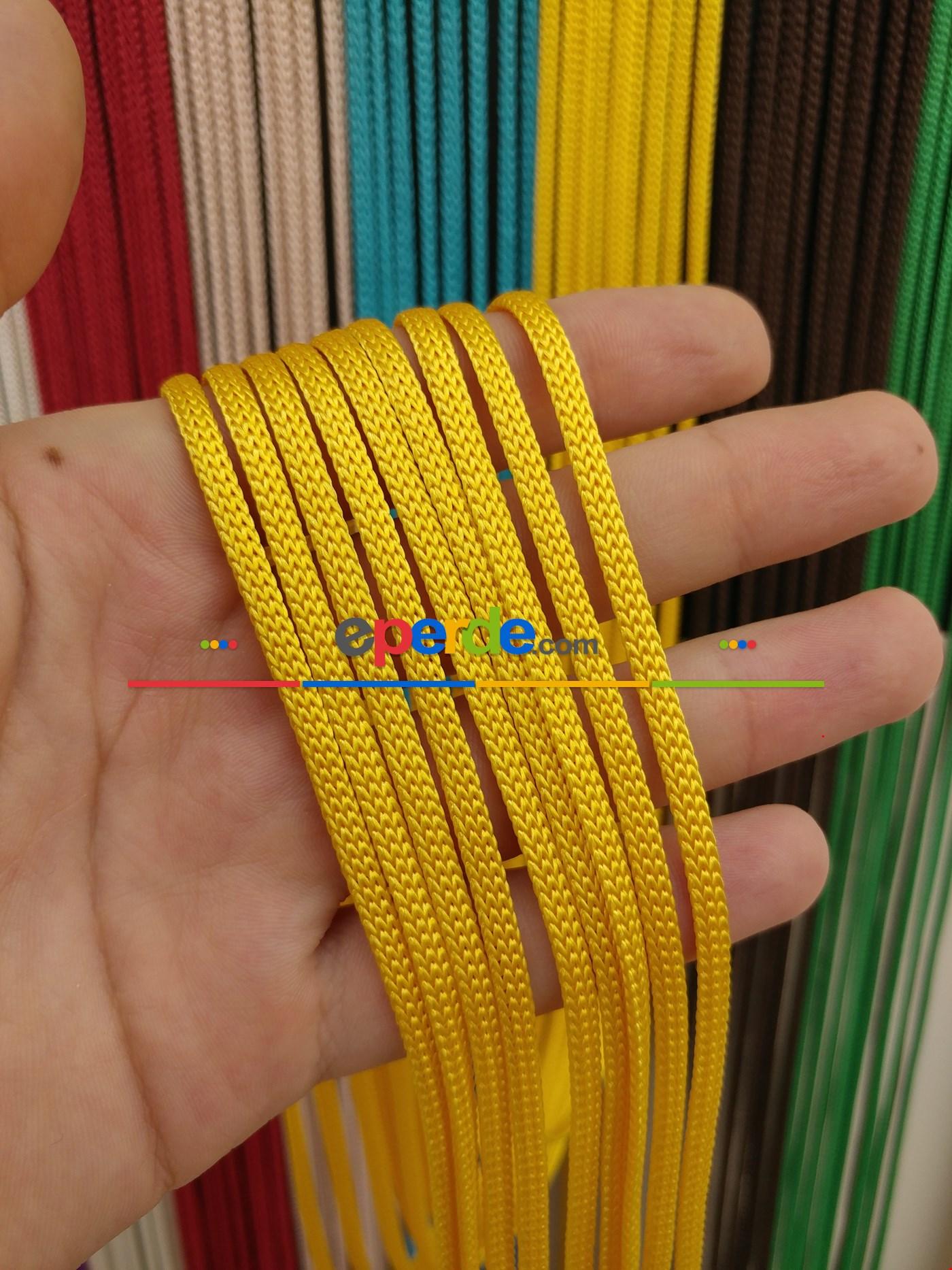 Gri Rengi İp Perde Jumbo Zincir Serisi Sarı