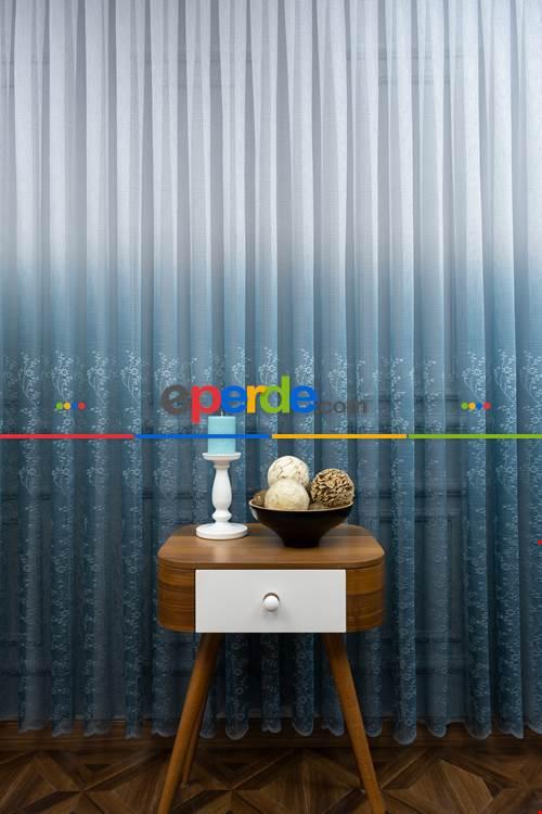 Oturma Odası - Renk Geçişli Örme Tül Perde-  Çok Renkli 2
