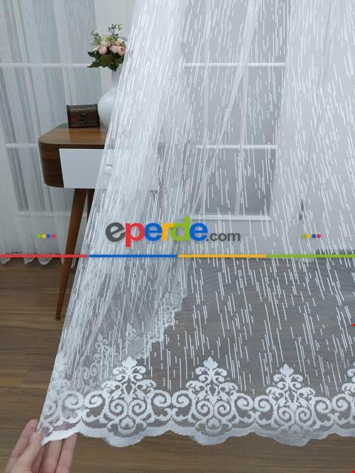 Ekru Şantuk Çizgili Fransız Danteli Tül Perde (geniş En 280cm)