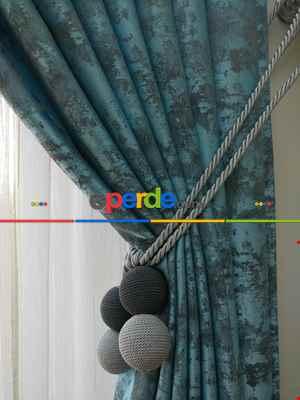 Açık Mavi Renk Jakar Desenli Fon Perde- Mavi Açık-mavi Grimsi
