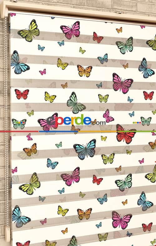 Rengarenk Kelebekler - Baskılı Zebra Perde