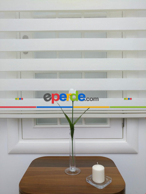 Zebra Perde- Ekru Renk Bambu Zebra Perde (kalın Zeminli)