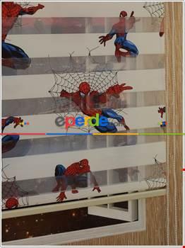 Çocuk Odası - Spiderman Desen Zebra Perde- Çok Renkli