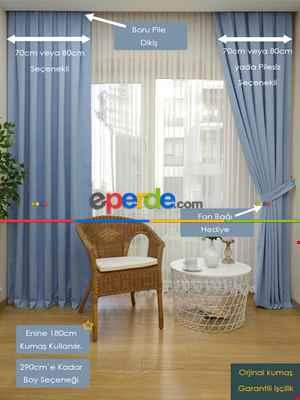Salon Açık Mavi Fon Perde- Mavi Açık